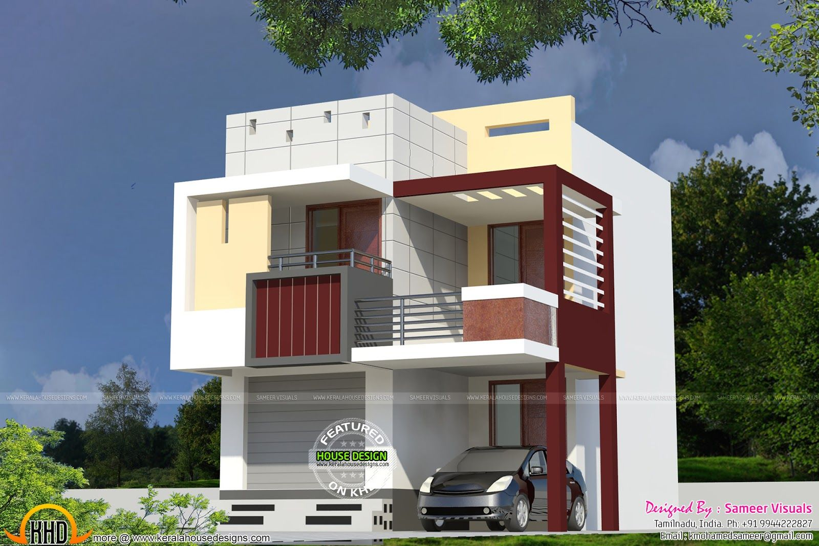 Very Small Double Storied House House Elevation Indian Compact