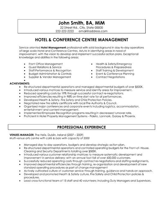 hotel manager sample resume hotel manager cv template job