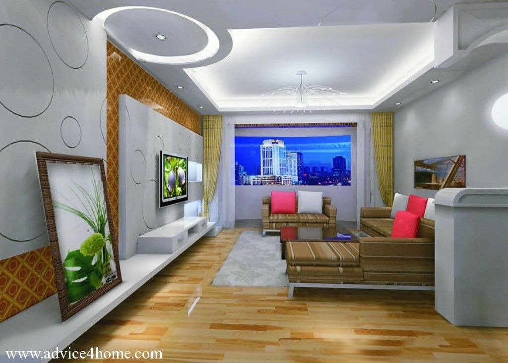 White Pop Ceiling Design And Wall Design And Brown Sofa Set In
