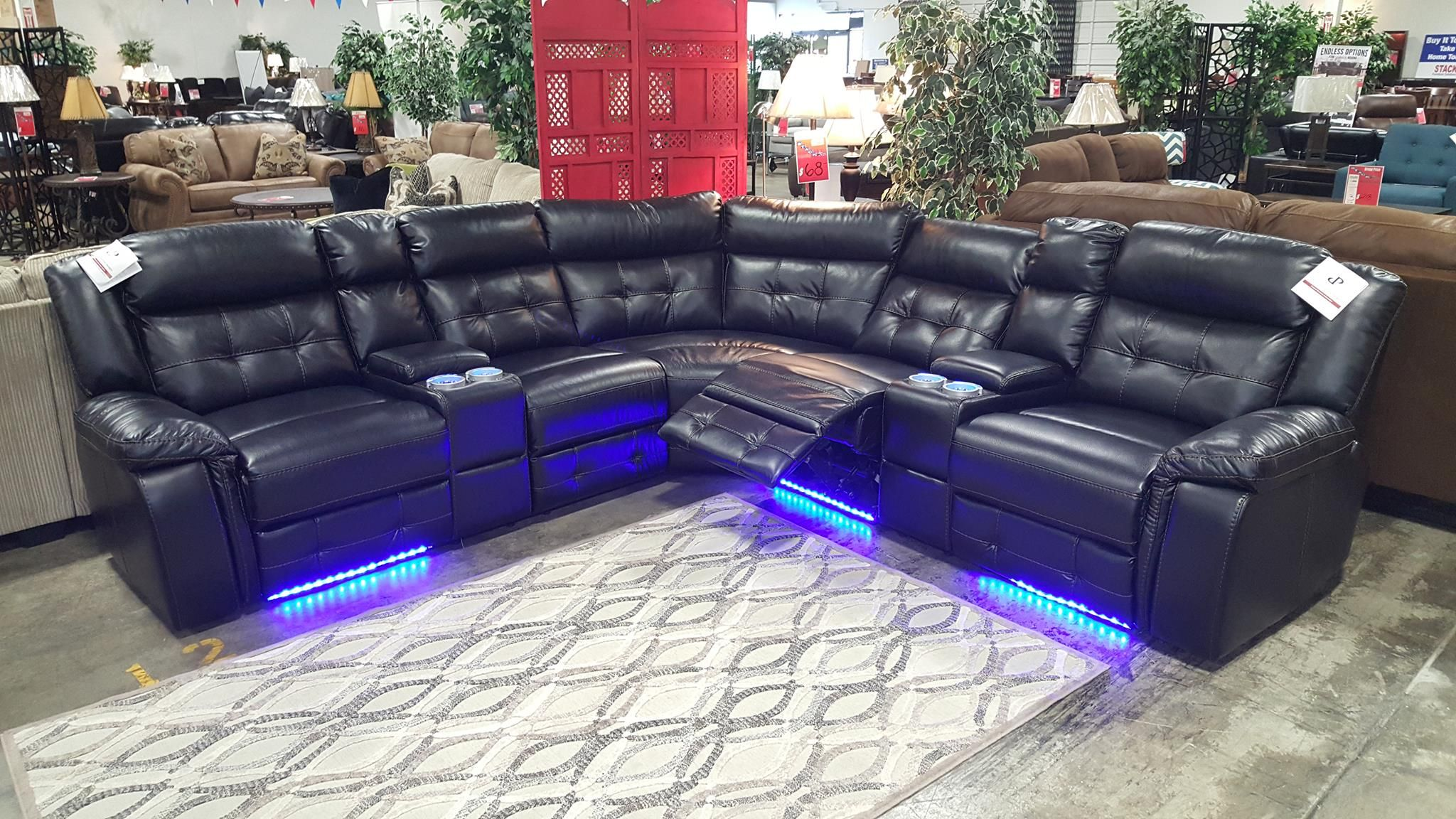 power reclining sofa with cup holders top leather sofas the enterprise has arrived! led under lighting, ...