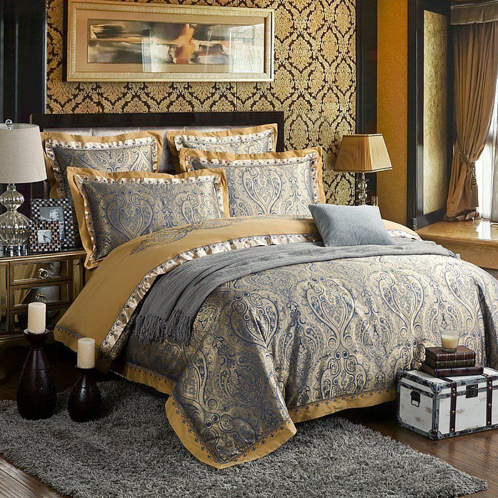 Zangge Bedding Luxury Satin Jacquard Paisley Bedding Sets
