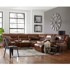 Macys Leather Sofa With Chaise King Cloud Reviews Beckett Power Reclining Sectional Collection