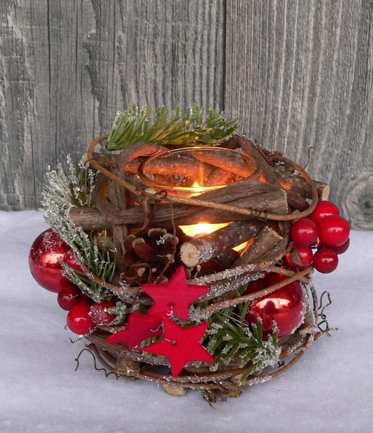 Holzkranz Tischdeko Windlicht Advent Adventskranz Weihnachten Holz Glas rot grn  Xmas