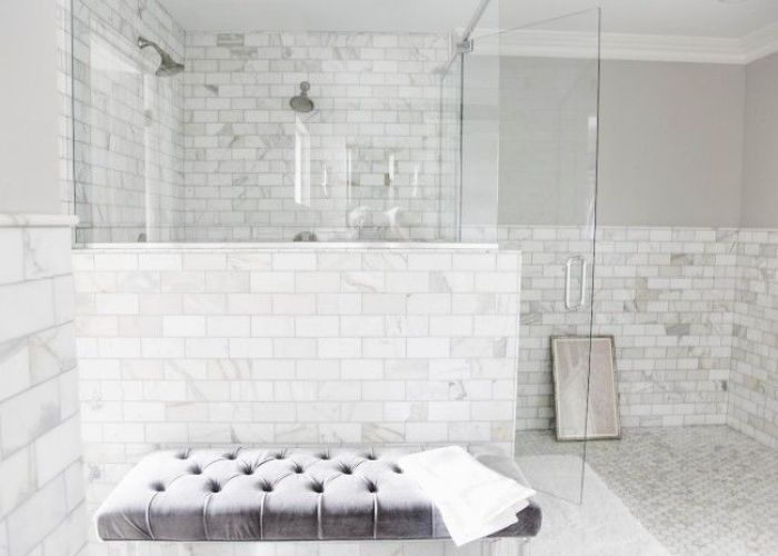 Bathroom white ceramic tiled shower stall mixed with half glass wall partition combined rectangle also
