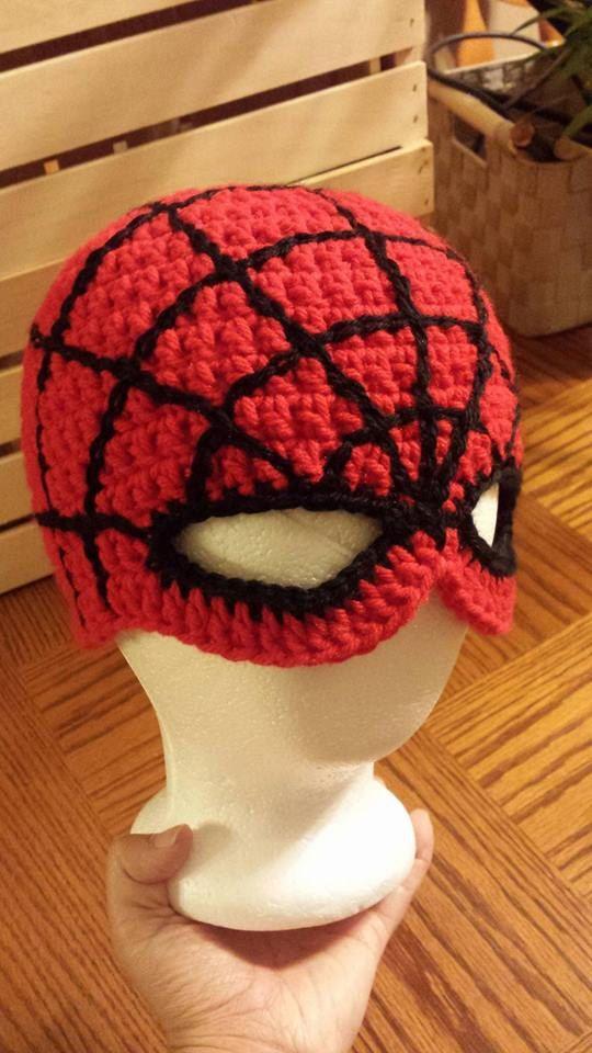 Spiderman hat crocheted super hero by KnittingsByTina on Etsy  spanky  Pinterest  Hat crochet