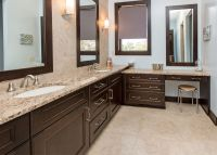 Dark bathroom cabinets, tan countertops | home | Pinterest ...