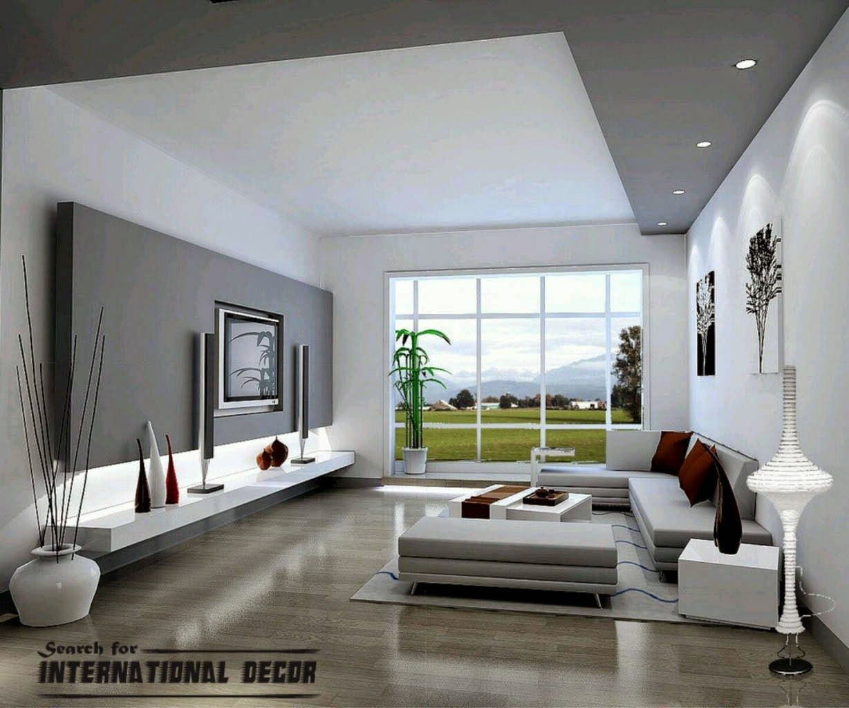 Modern Living Room Decor And Design Paint Part Of Ceiling To