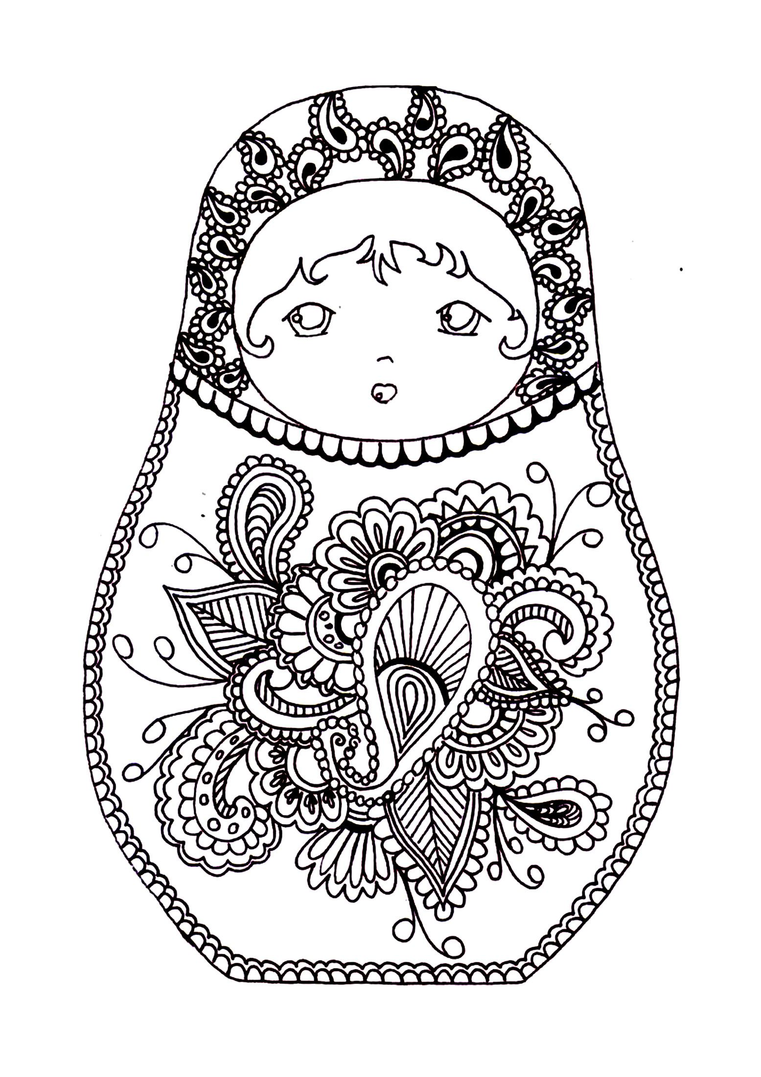 Free Coloring Page Coloring Russian Dolls 2
