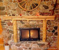 Rustic Corner Wood-Burning Stove   Rustic Fireplace Mantel ...