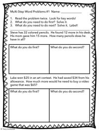 Multi-step Word Problems - Adding and Subtracting to 100 ...