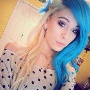 rock split dyed hair