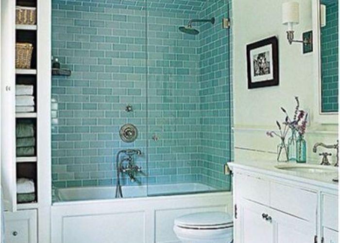 Turquoise blue subway tile shower bath tub glass door storage shelf outside also bathroom houses and interior pinterest house modern