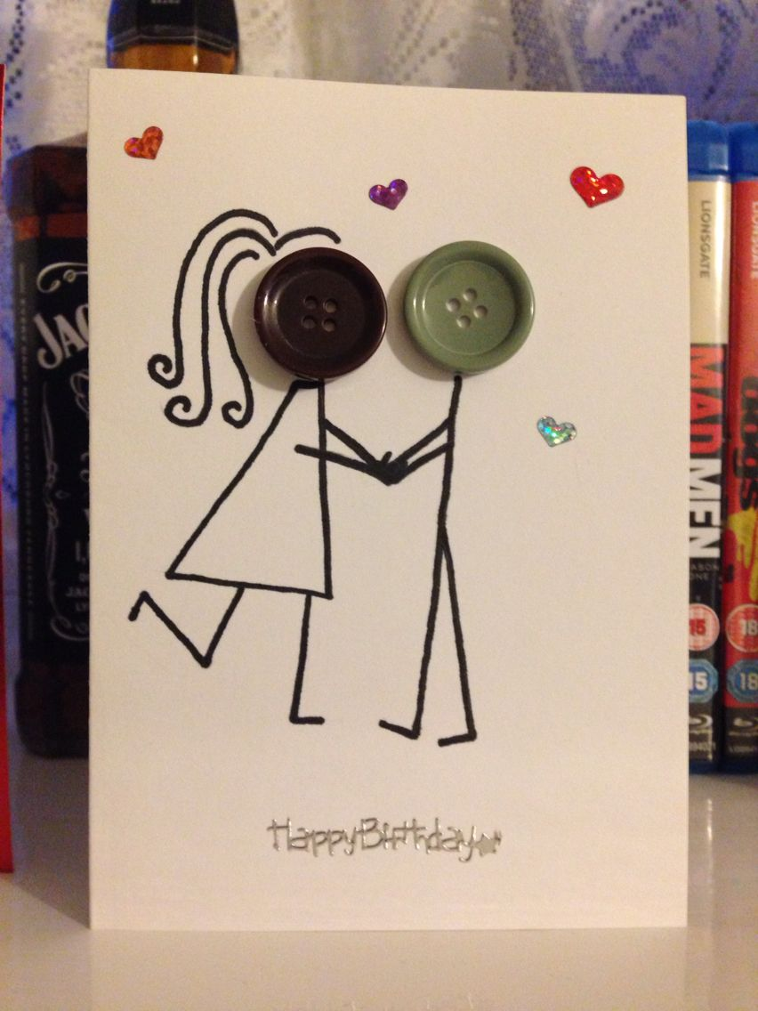 Happy Birthday Card Boyfriend Girlfriend Button Faces
