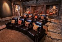 Rustic Home Theater with Exposed beam, Columns, Carpet ...
