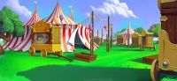Carnival, big tent, fun fair, medieval cartoon scene ...