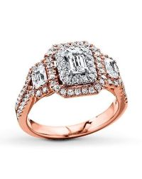 Kay Jewelers engagement ring in rose gold with emerald cut ...