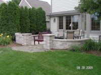 landscape around patio | Knee Walls, Pillars, and Firepit ...