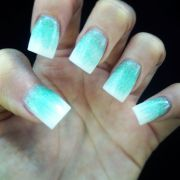 tiffany blue and white ombr acrylic