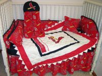 Crib bedding set made/w st. louis cardinals fabric | Cardinals