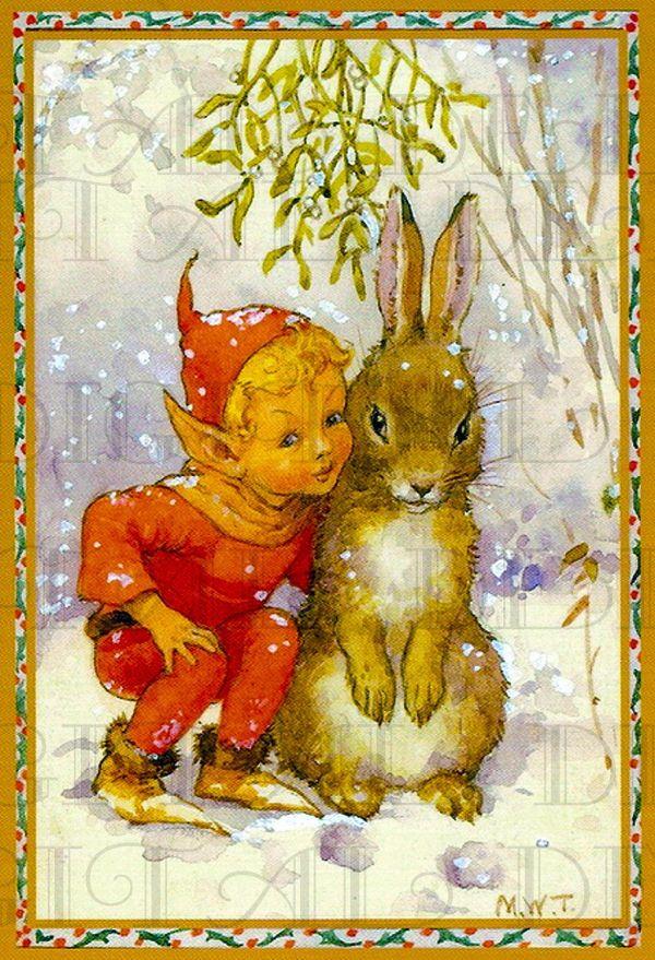 Adorable Little Boy Elf And Big Bunny Friend. Vintage