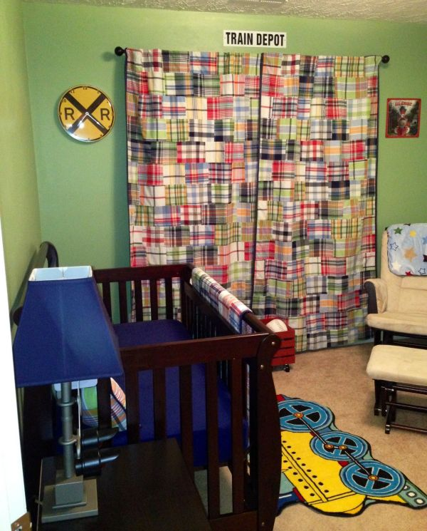 Pottery Barn Kids Madras Bedding. Vintage Train Signs And