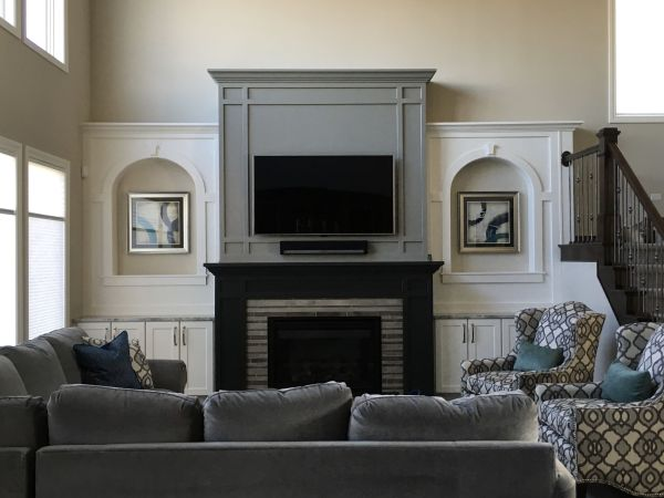 Gray Great Room Fireplace Wall Paint Colors Sherwin Williams Westhighland White Cabinets