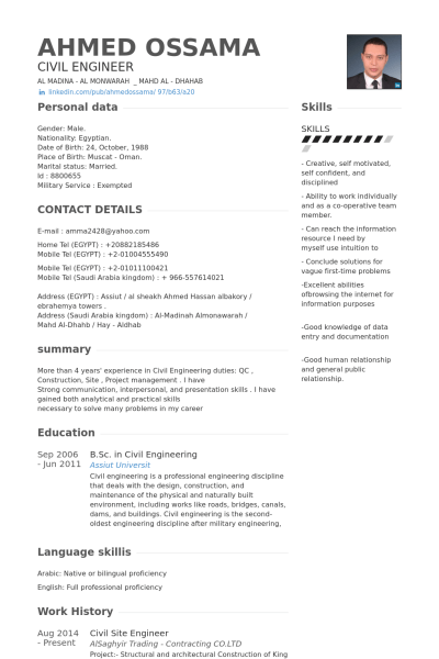 Civil Site Engineer Resume Example Job Pinterest Resume