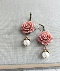Rose Earrings Dusty Rose Pink Pearl Drop Floral Dangle