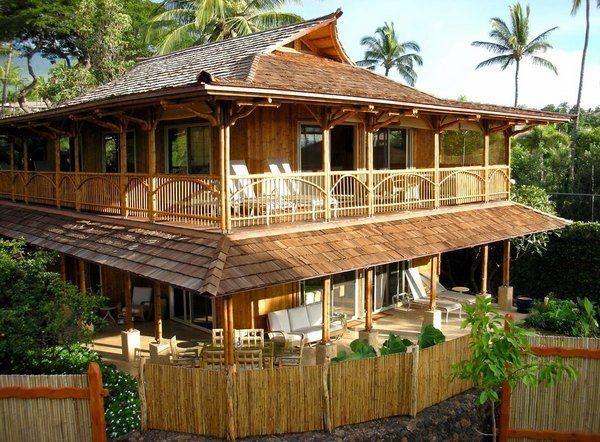 Bamboo House Design Ideas Two Storey House Bamboo Fence Garden