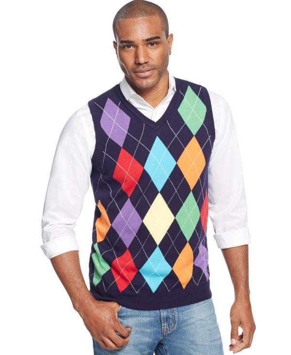 Argyle Culture -neck Sweater Vest Iq Intarsia