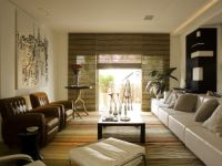 Zen Style Living Room Decor With Sectional Sofa and Wooden