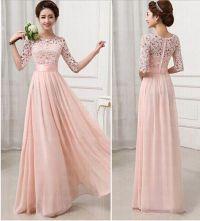 Half Long Sleeves Bridesmaid Dresses,Pink Lace Chiffon ...