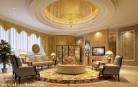 white-yellow round pop ceiling design and traditional sofa ...