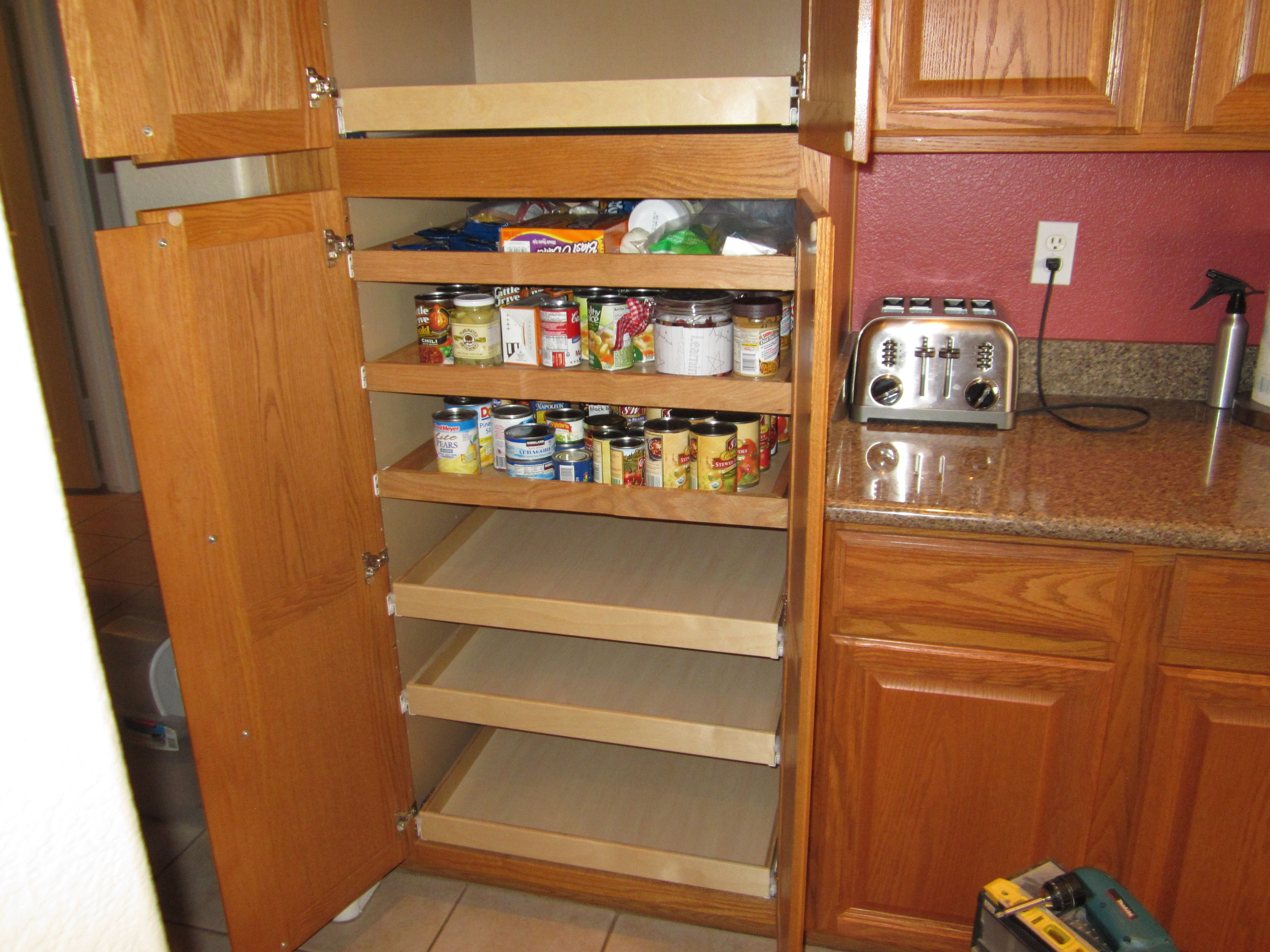 shelves for kitchen cabinets 30 gallon trash can double door pantry cabinet with pull out added