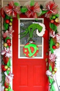 Grinch Wreath and Garlands and Ribbons Christmas Door