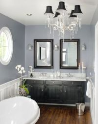 love the gray and white with the dark wood and black ...
