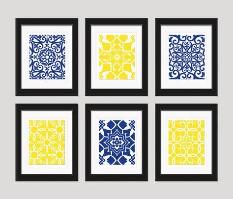 Navy yellow wall art blue home decor also bathroom vy set of rh pinterest
