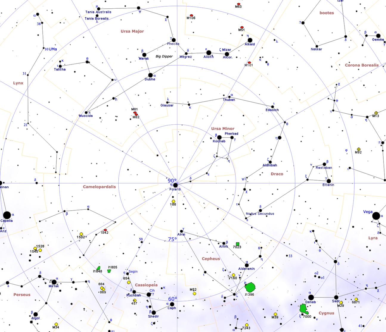 Circumpolar Constellations Northern Constellations