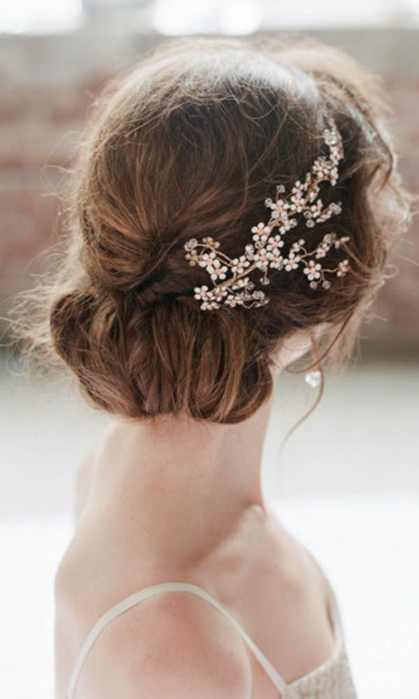 Wedding Updo Hairstyle With Flower Gold Hairpiece Updo Wedding