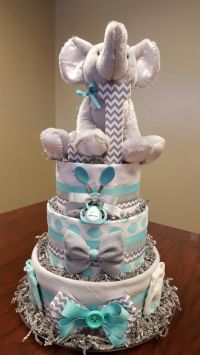 Elephant chevron diaper cake! It's a boy, just as cute as
