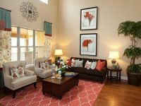 A coral-colored rug pulls together the design in this ...