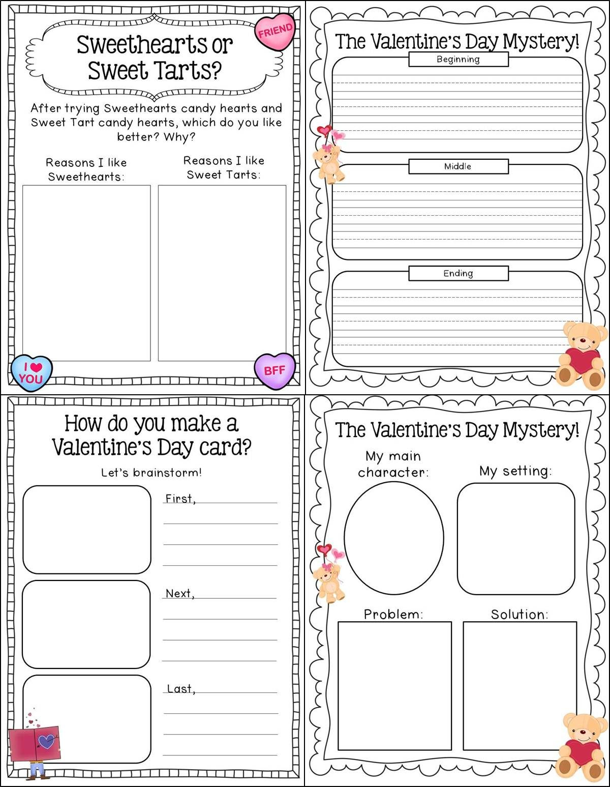 Valentine Writing Activities For 5th Graders