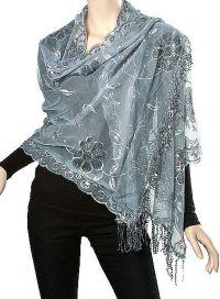 Evening shawls silver grey light sheer elegance for women ...