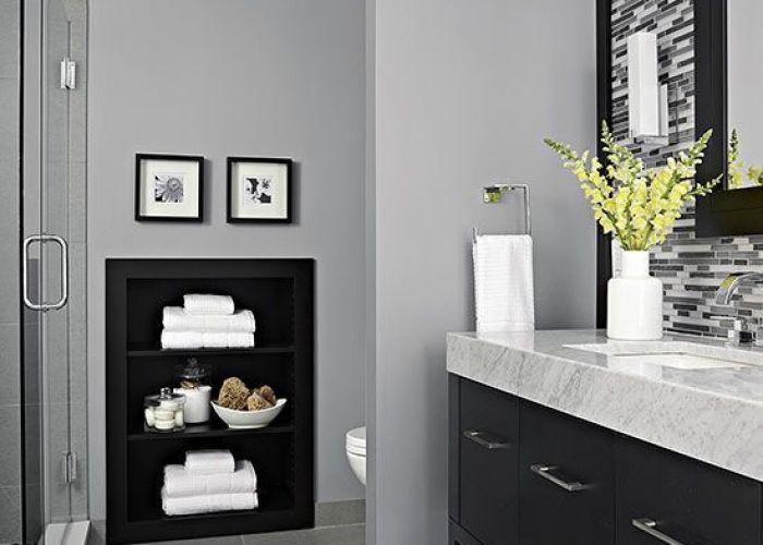 Decorating idea black backed built ins bathroom graygrey also bath and house