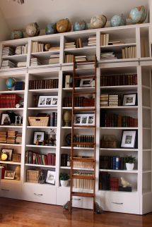 Home Library Bookshelves with Ladder