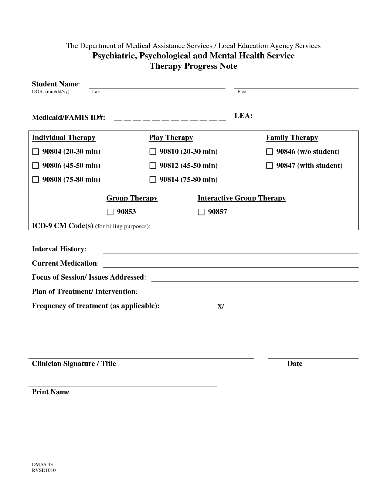 Psychotherapy Progress Notes Template