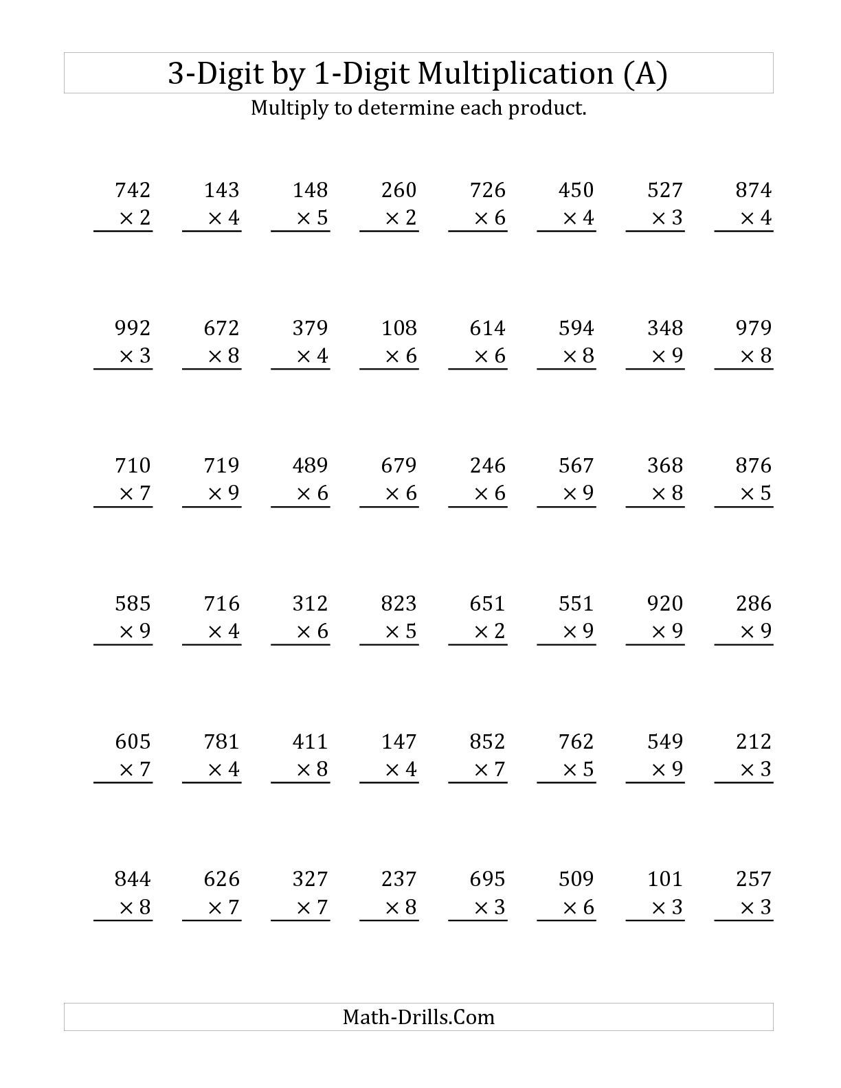 55 Math Worksheets Multiplying 3 Digit Numbers
