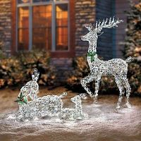 LED Lighted Wireframe Reindeer Family Outdoor Christmas ...