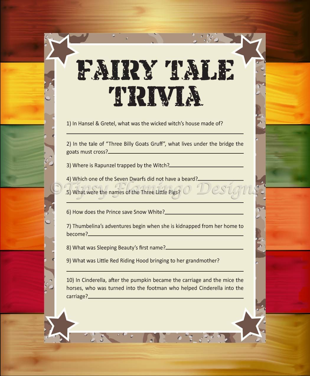 Baby Shower Game Fairy Tale Trivia Shower Game Desert Camo Star Military Printable Instant