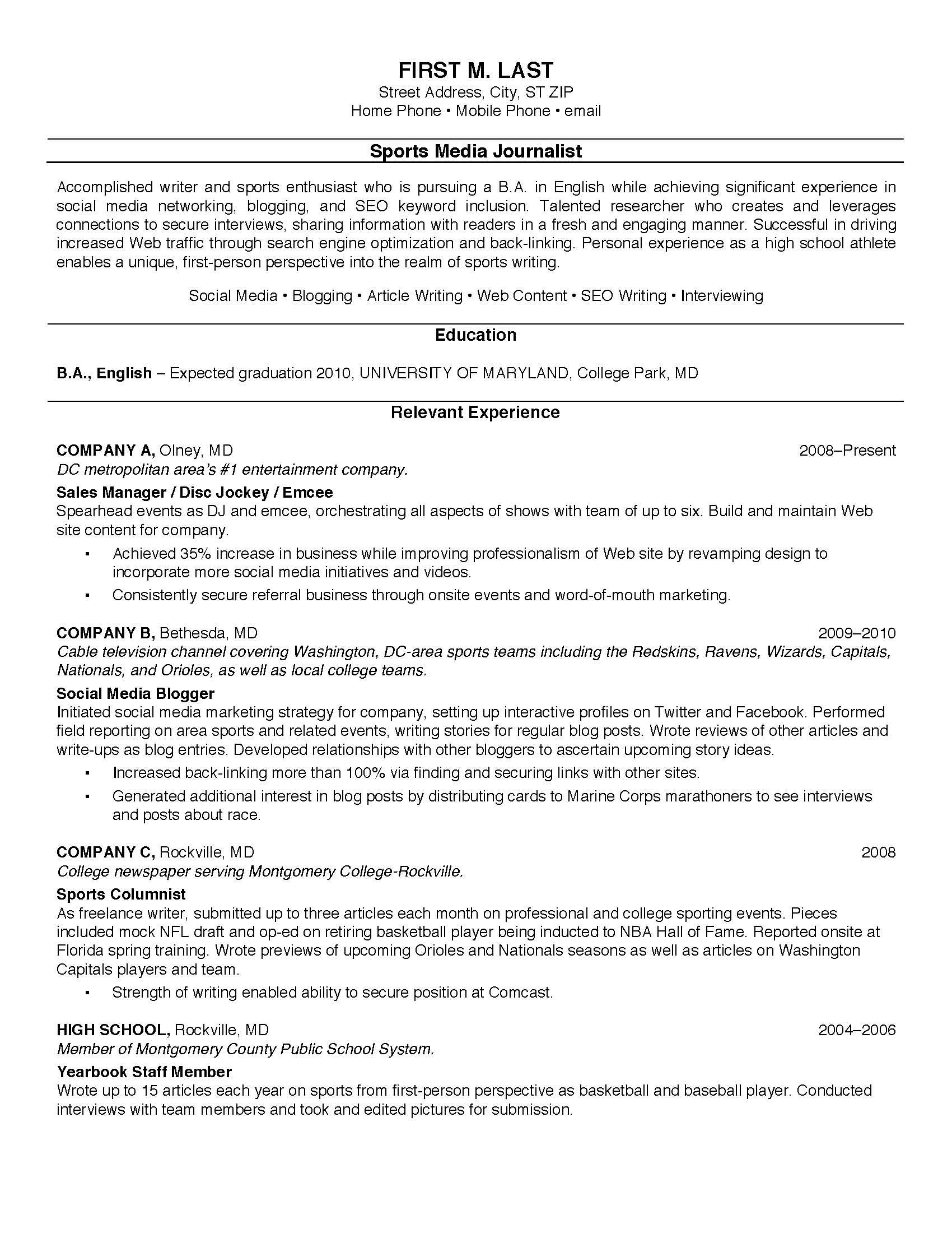 example of resume for teenager - Example Sample Resume